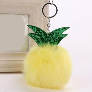 Puffy Pom Pom Glitter Pineapple Bag Charm Keyring